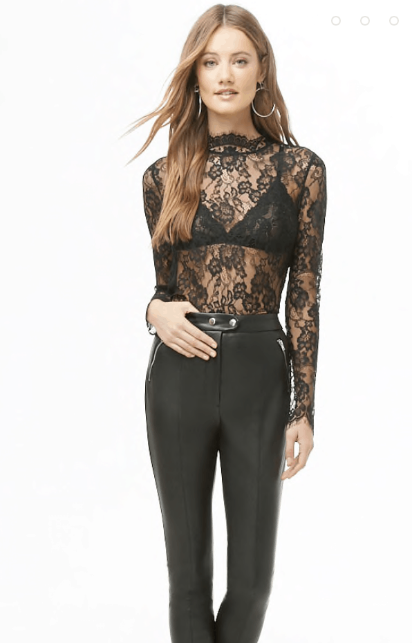 Black sheer lace top