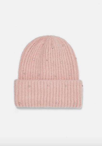 Zara pink embellished beanie