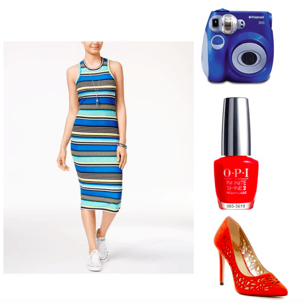 Outfit inspired by Alice from Rough Night: Striped midi dress, Polaroid camera in blue, red nail polish, red laser cut heels