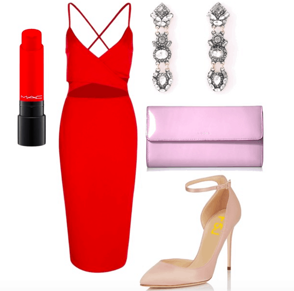 Outfit inspired by Jess from Rough Night: Front wrap red midi dress with cutout, red lipstick by MAC, jeweled statement earrings in clear, light pink patent clutch, nude pointed toe heels