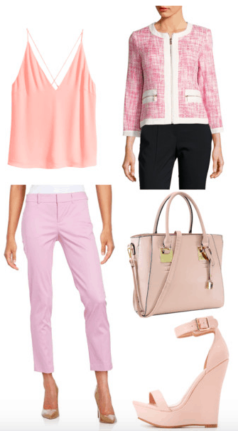 Outfit inspired by Blair from Rough Night: Pink pants, blush pink cami, pink and white tweed jacket with white trim, blush pink tote bag, pink wedges