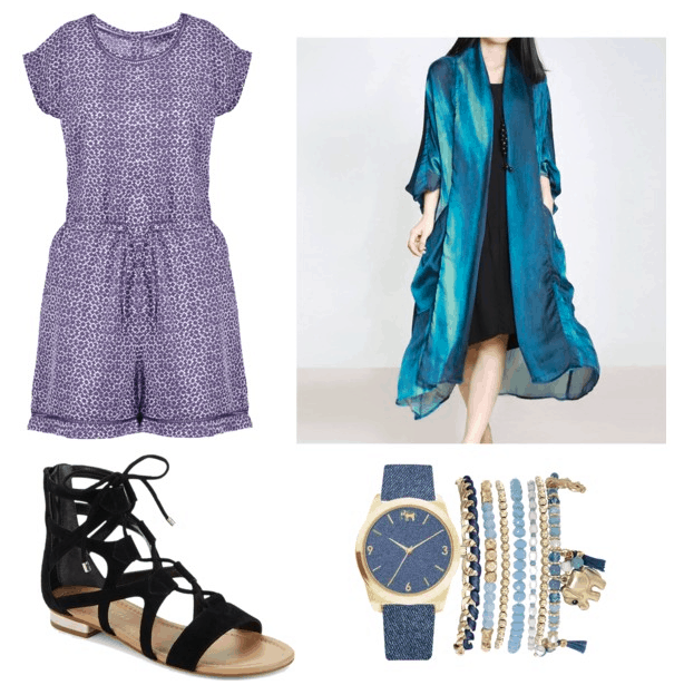 Outfit inspired by Pippa from Rough Night: Boho chic outfit idea including printed short sleeve romper, long satin kimono duster in blue, blue bracelets and watch, black gladiator sandals