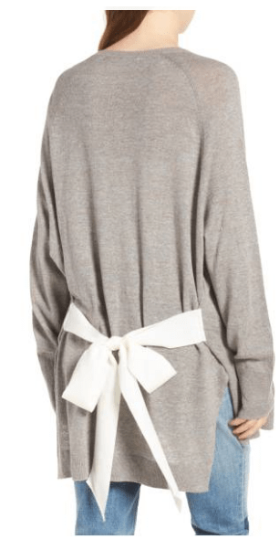 Internship essentials: Cozy cardigan to keep you warm in the air conditioning -- gray cardi with white bow detail