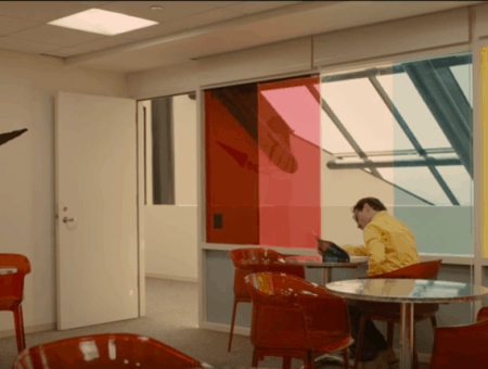 Film production design fashion: Joaquin Phoenix working in his office in the 2013 film
