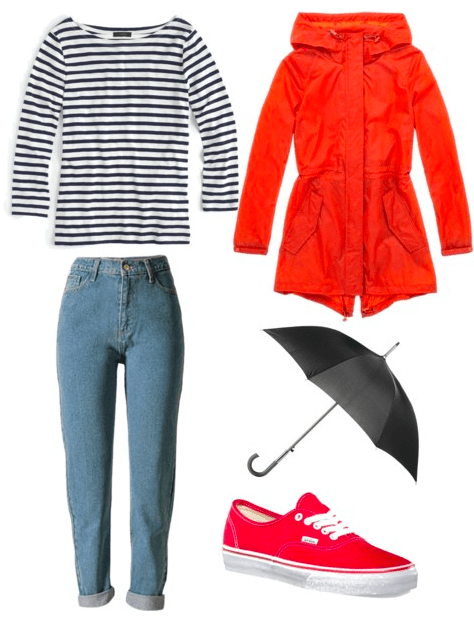 Rainy Day outfit: Striped tee, raincoat, umbrella, jeans, Vans