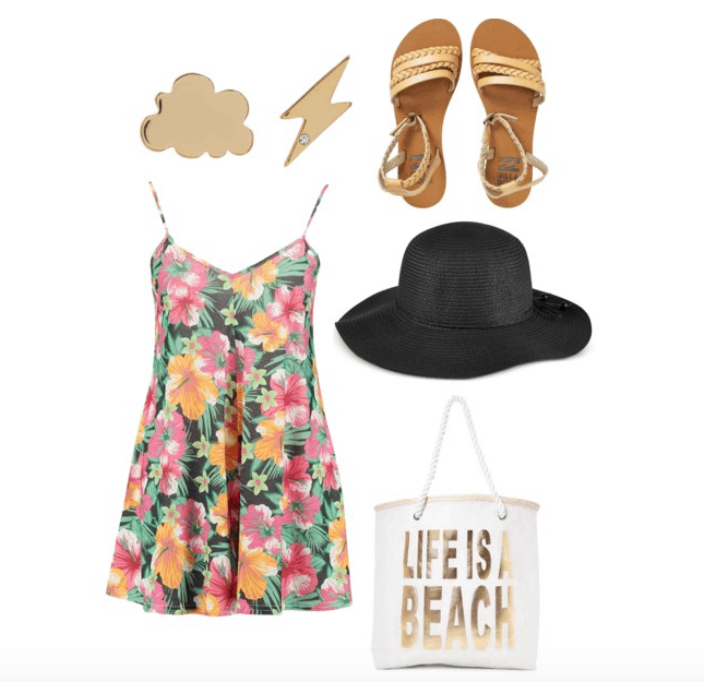 American Gods inspired outfit: floral dress, sandals, beach bag, thunderbolt studs, black hat