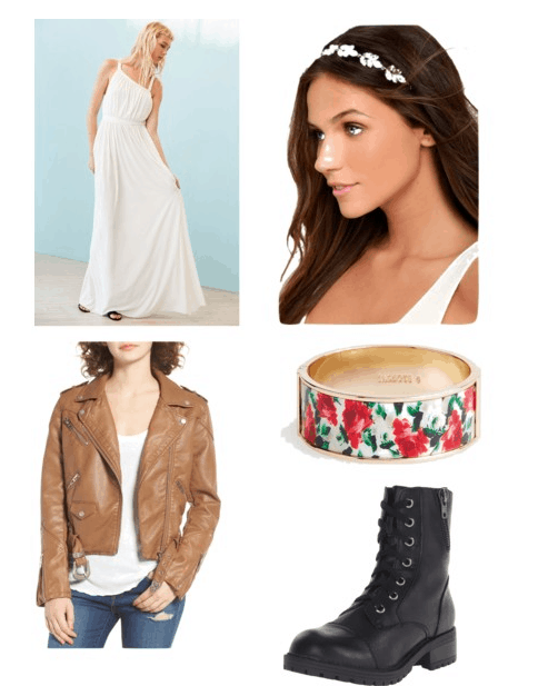 Outfit inspired by Anne theme: White maxi, flower crown, bracelet, leather jacket, and combat boots