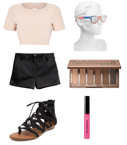 revised glow outfit: glasses, pink crop, black shorts, eyeshadow, lip gloss, sandals