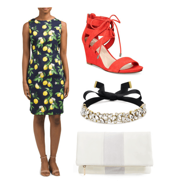 Outfit inspired by Jane's house: lemon dress, orange wedges, choker, clutch