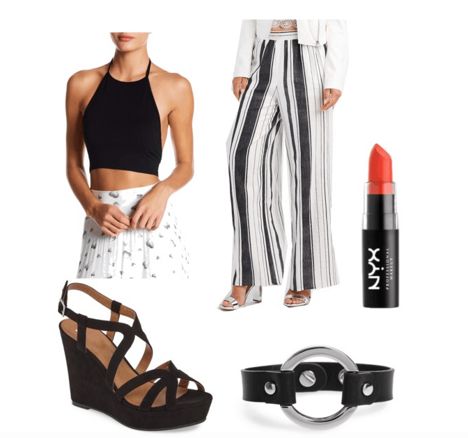 outfit inspired by vinyl- palazzo pants, crop top, bright lip, wedge, leather bracelet