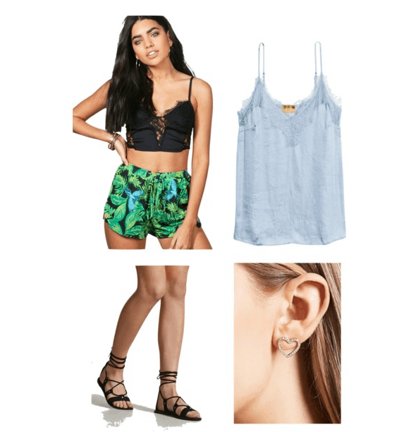 outfit inspired by the braddock backyard: cami top, tropical shorts, sandals, heart studs