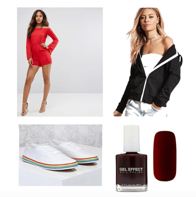 outfit inspired by do the right thing: romper, hoodie, shoes, and nails