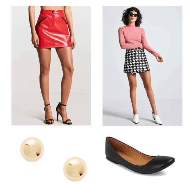 outfit inspired by buchanan's house: red leather skirt, pink ribbed shirt, black flats, gold studs
