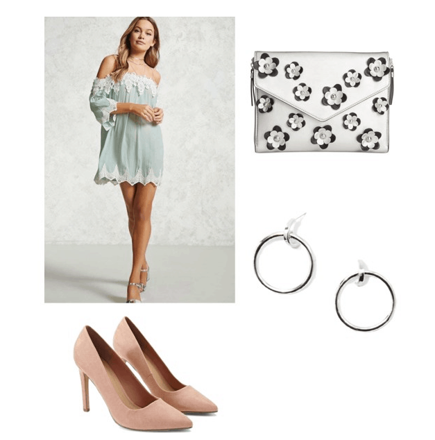 outfit inspired by gatsby's tea party: crochet off the shoulder dress, floral clutch, hoop earrings, pink heels