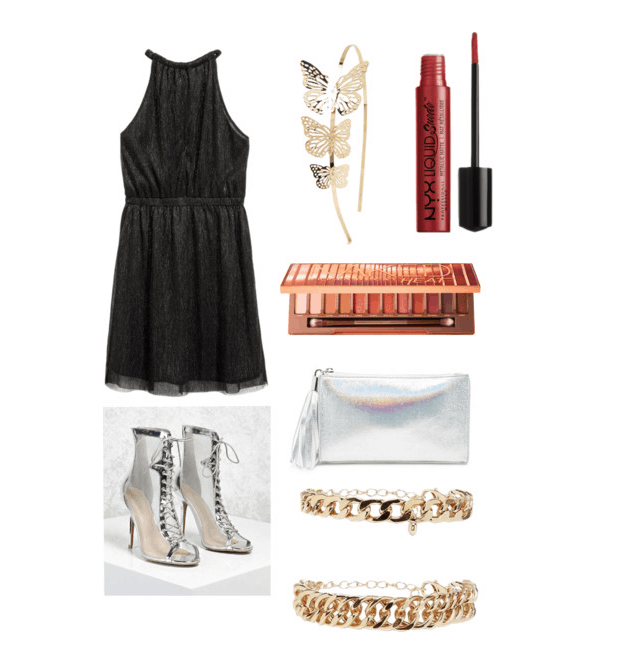 outfit inspired by gatsby's party: metallic dress, heels, clutch, nyx lip cream, butterfly headpiece, gold bracelet, naked palette