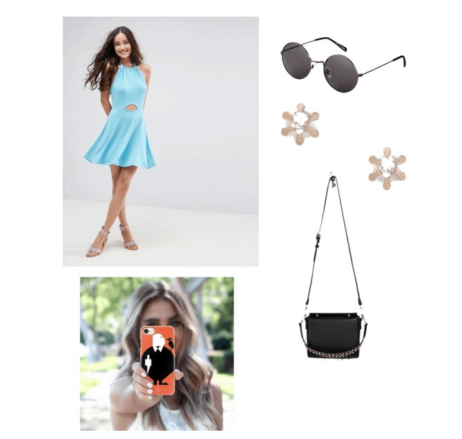 outfit inspired by single man theatre blue: halter dress, sunglasses, studs, satchel, phone case