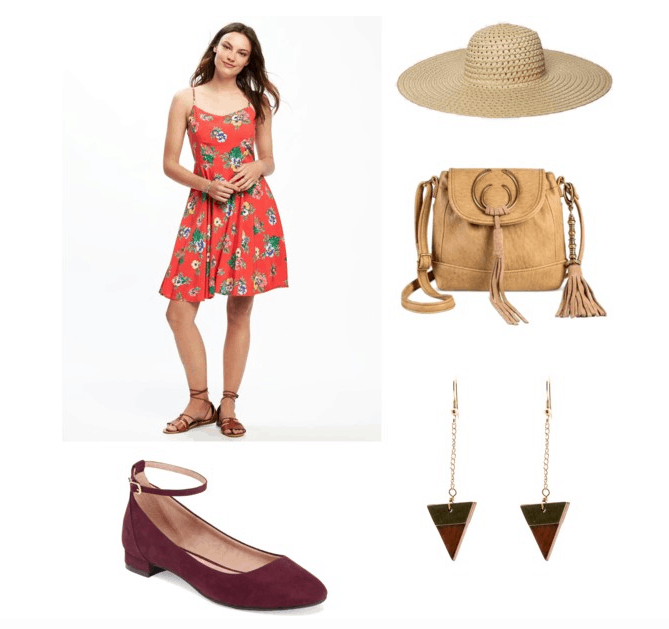outfit inspired by charley's bedroom- sunhat, sundress, earrings, burgundy flats, and bag
