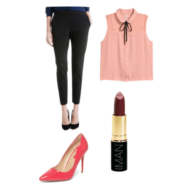 outfit inspired by single man's liquor store (pink)- trousers, pink collar blouse, pink heels, dark lipstick