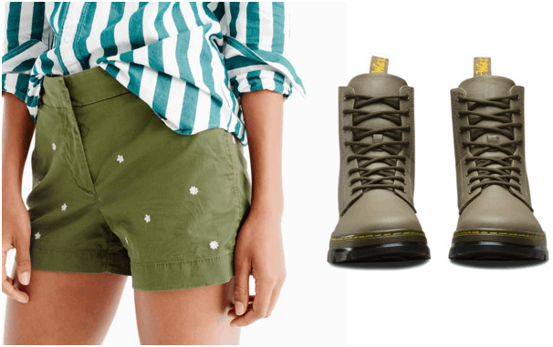 What your favorite pair of shorts says about you: Olive green polka dot shorts and olive green boots