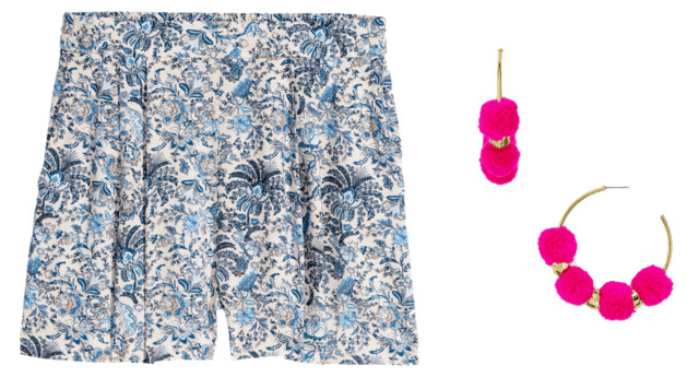 What your favorite pair of shorts says about you: Floral shorts with pink pom pom earrings