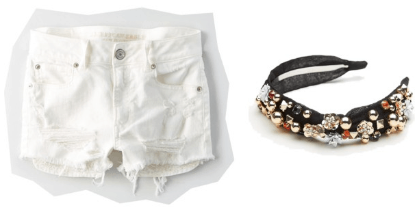 What your favorite pair of shorts says about you: White shorts and jeweled headband