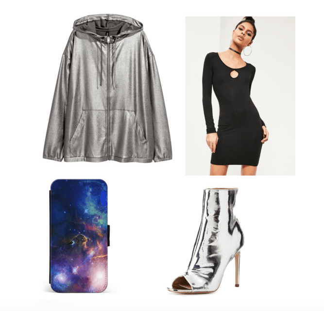 outfit inspired by fifth harmony at the 2017 MTV VMAs - bodycon dress, silver jacket, galaxy phone case, metallic heels