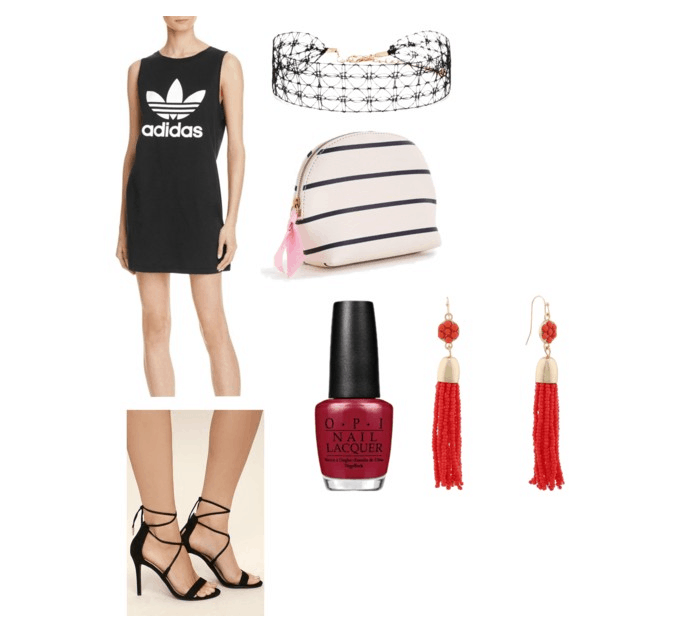 outfit inspired by katy perry's swish swish performance at the 2017 VMAs: tank dress, choker, striped makeup pouch, red nails, orange drop earrings, black heels