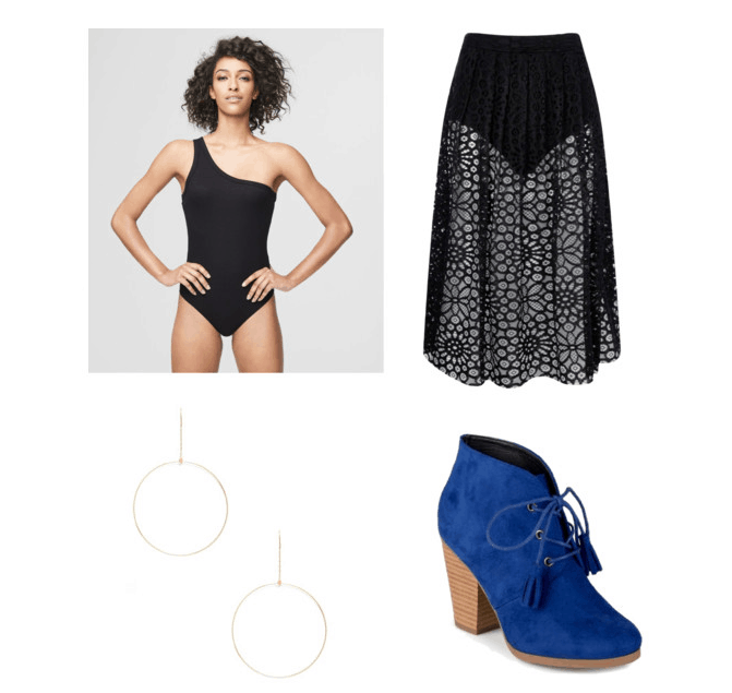 outfit inspired by demi lovato's performance at the 2017 MTV VMAs: sheer skirt, black bodysuit one shoulder, blue ankle boots, and hoop drop earrings