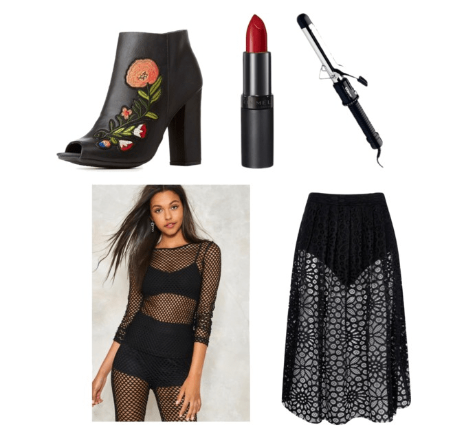 final outfit inspired by look what you made me do: ankle boots, red lips, curling iron, mesh tee, mesh skirt