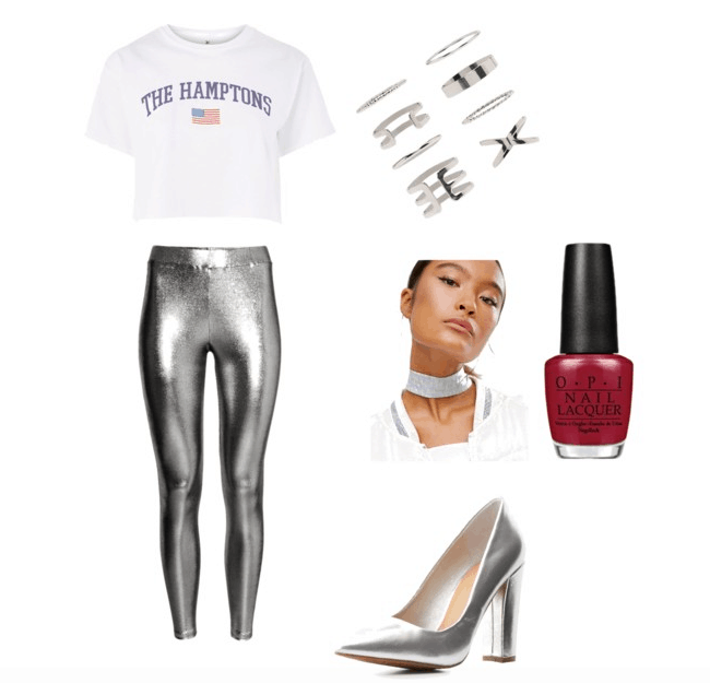 look what you made me do outfit #2- crop tee. ring set ,red nails, silver choker, silver heels