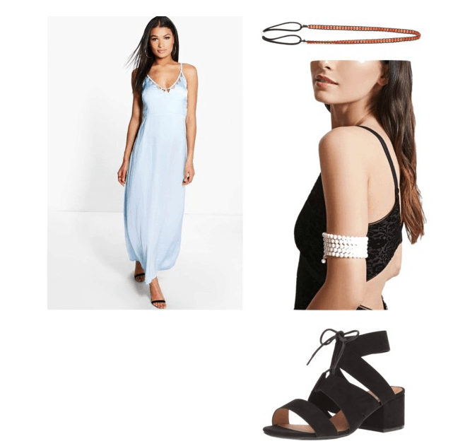 revised outfit #1 inspired by swift's look what you made me do: blue maxi, pearl arm band, headwrap, sandals