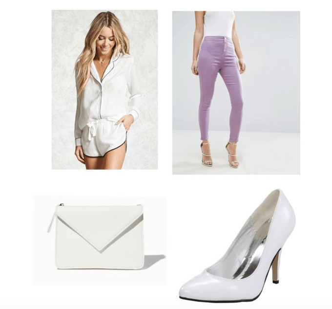 outfit inspired by Holly Golightly's apartment: purple jeans, PJ top, heels, envelope clutch