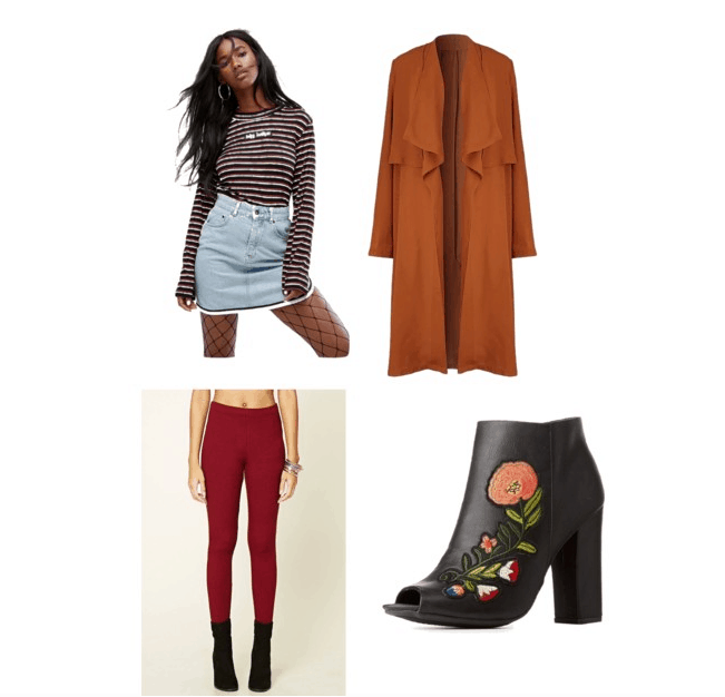 outfit inspired by BOT's NYC revised: striped tee, orange coat, embroidered boots, red pants