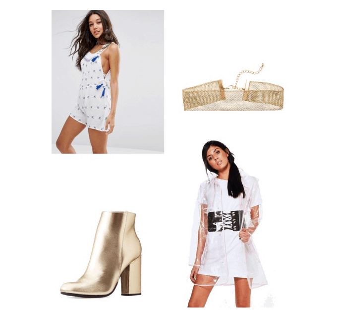 Outfit inspired by Bodak Yellow: white playsuit, gold choker, clear raincoat, and metallic booties