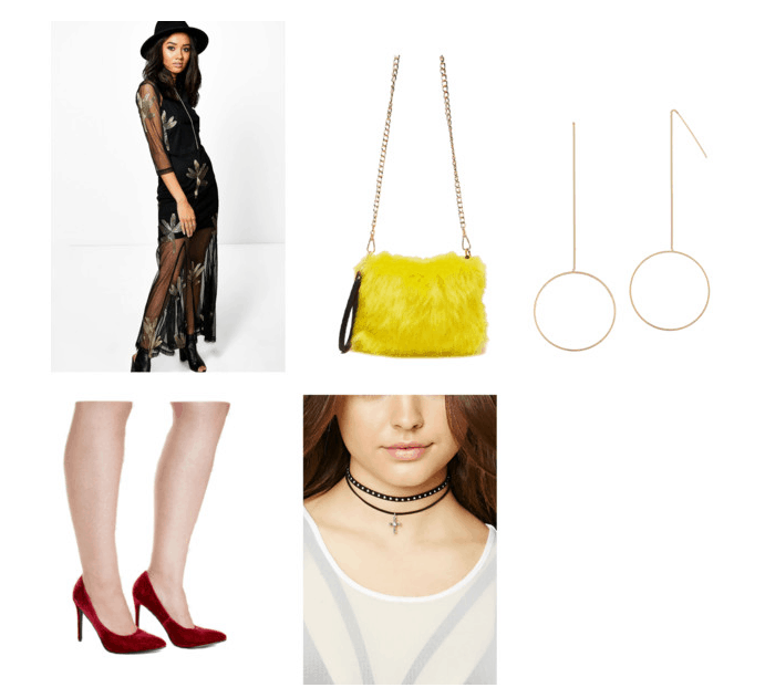 outfit inspired by bodak yellow #2- embroidered dress, fur purse, drop earrings, cross choker, red heels