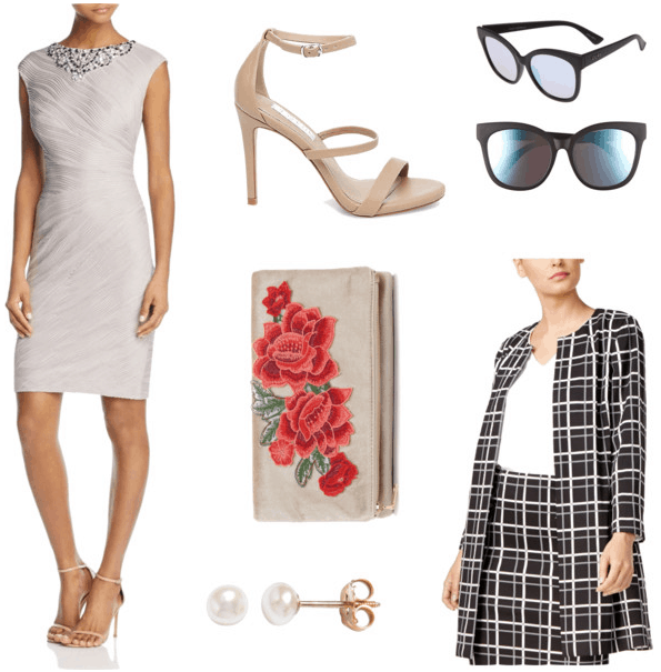 Outfit inspired by Anna Wintour's style: Silver wrap dress, beige strappy sandals, rose-embroidered clutch, patterned black and white coat, pearl earrings, sunglasses