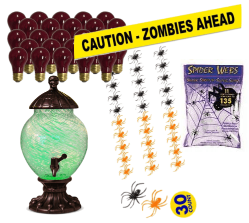 Halloween party decorations - black light bulbs, punch bowl with green, fake spiders and spider webs, Caution: Zombies ahead sign