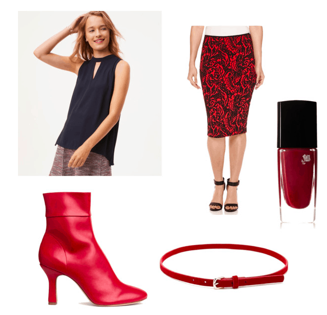 aria inspired outfit: choker blouse, tribal skirt, red nails, belt, and leather boots