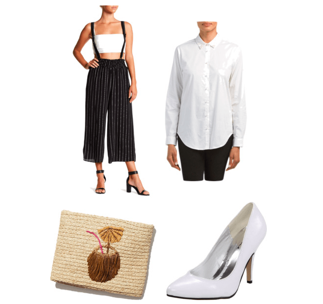 Outfit inspired by Pretty Little Liars Season 7, Emily's bartender outfit: overalls, white tunic, clutch, white heels