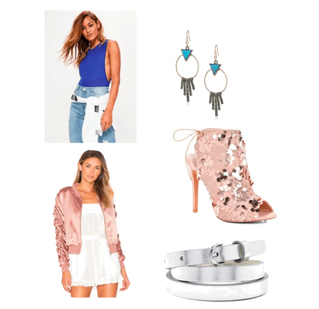 Outfit inspired by Pretty Little Liars Season 7, Hannah's glitter bomber jacket outfit: blue bodysuit, drop earrings, glitter heels, metallic belt, and satin bomber jacket