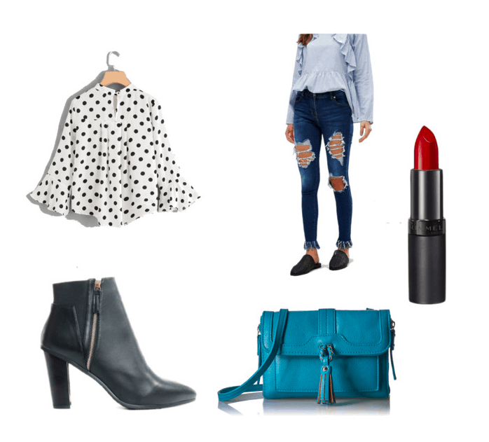 Outfit inspired by Pretty Little Liars Season 7, Spencer's chevron top outfit: polka dot top, ripped jeans, red lips, booties, bag