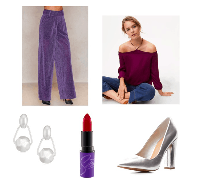 Selena Quintanilla style: outfit inspired by selena's last concert: purple glitter pants, purple halter top, silver heels, drop earrings, selena's mac lipstick