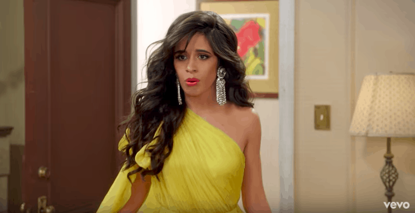 Camila's yellow dress look in Havana