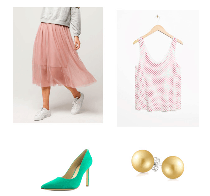 Outfit inspired by Pink's beautiful trauma music video:tulle skirt, polka dot tank, gold studs, green heels