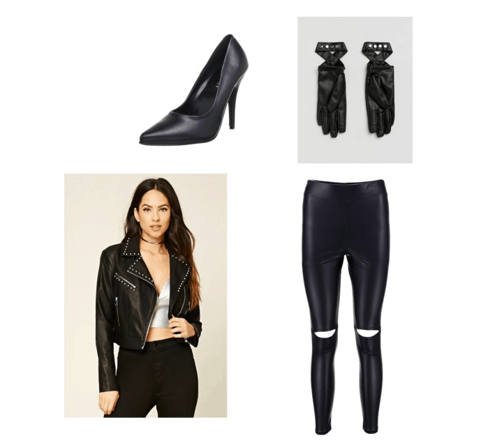 Leather outfit inspired by pink's beautiful trauma music video: Ripped leather leggings, leather jacket, black leather heels, leather gloves