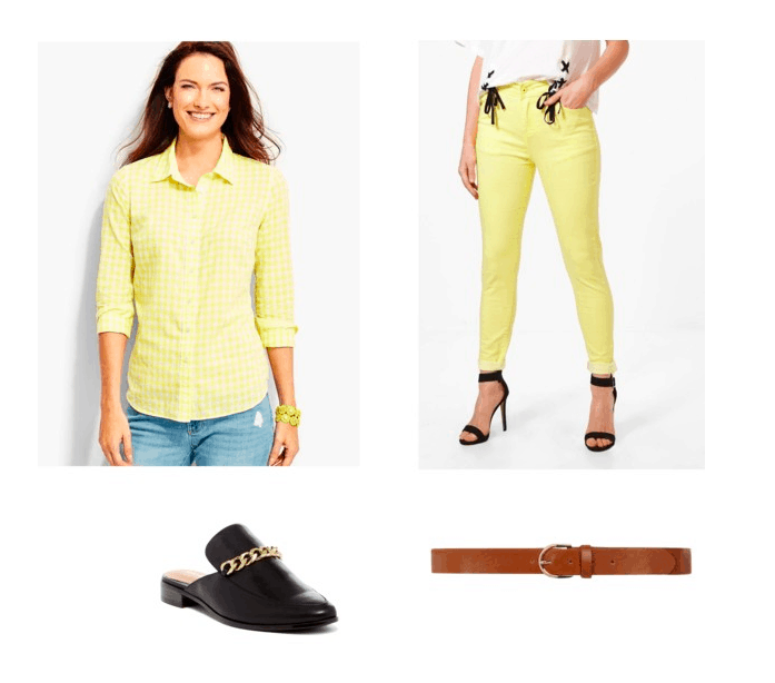 Yellow outfit inspired by channing tatum in Pink's beautiful trauma music video: Yellow skinny jeans, yellow button down shirt, black loafers, brown belt