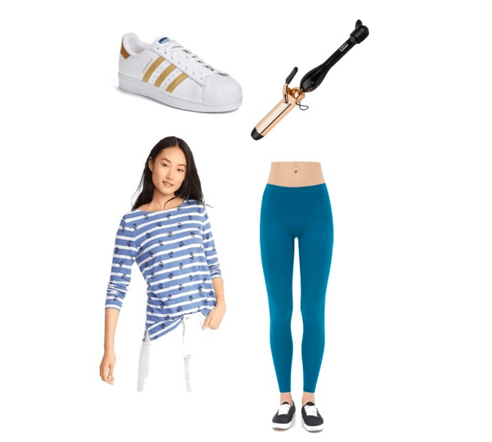 Outfit inspired by Liza Koshy: sneakers, curling wand, striped tee, blue leggings