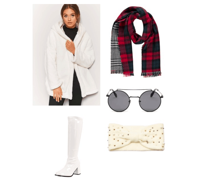 outfit  inspired by the train scene: fur coat, tribal scarf, round sunglasses, headwrap, knee high boots