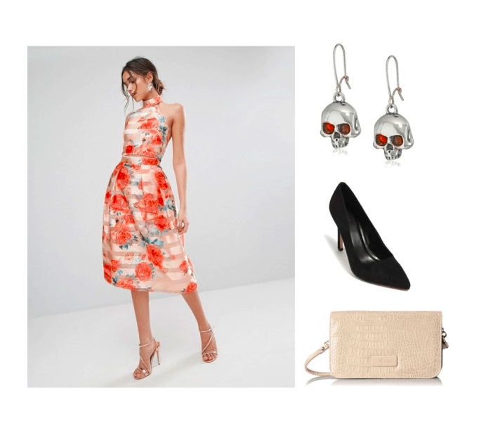 Outfit inspired by the Lava Challenge: peach floral dress, skull earrings, black heels, white clutch