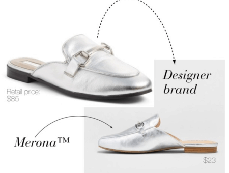 Designer shoe dupes at Target: Merona version of Gucci Princetown loafer in silver